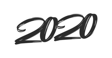 Vector illustration: Hand drawn brush lettering of number 2020. Happy New Year. Chines calligraphy
