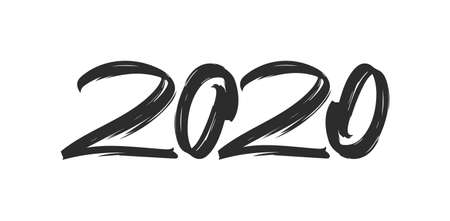 Vector illustration: Handwritten brush lettering of number 2020. Happy New Year. Chines calligraphy