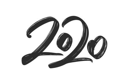 Vector illustration: Hand drawn brush ink lettering of 2020. Happy New Year. Chines calligraphy