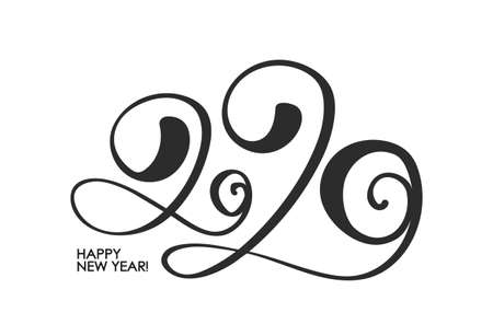 Vector illustration: Handwritten lettering number of 2020. Happy New Year. Chines calligraphy