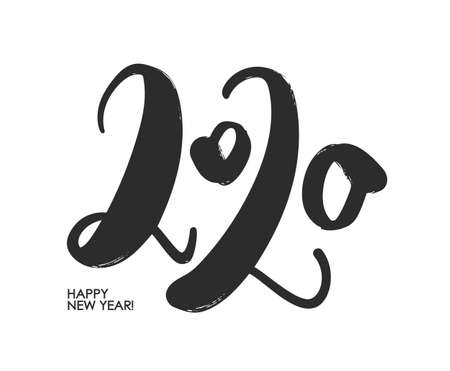 Vector illustration: Handwritten number of 2020. Happy New Year. Chines calligraphy Ilustração
