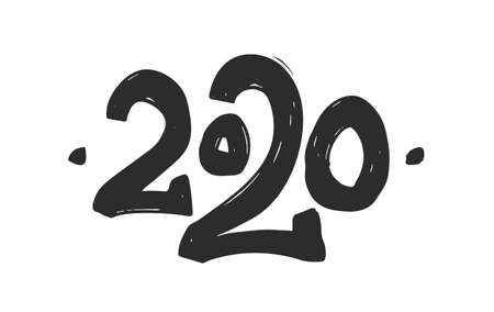Vector illustration: Hand drawn number of 2020. Happy New Year.