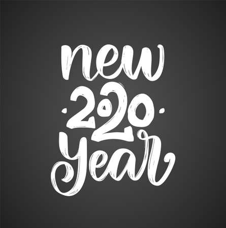 Vector illustration. Hand drawn textured brush lettering of New Year 2020 on blackboard background.