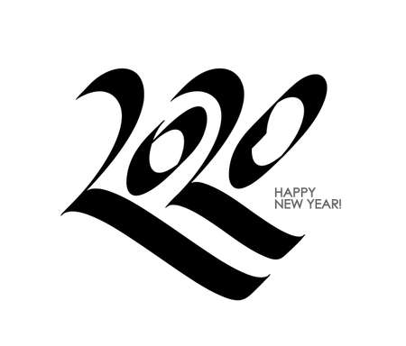 Vector illustration: Calligraphy of numbers 2020. Happy New Year. Ilustração