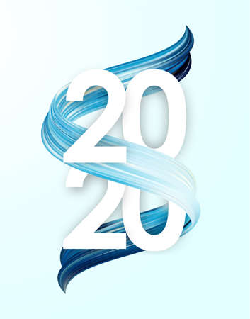 Vector illustration: Happy New Year. Number of 2020 with blue paint stroke shape. Trendy design 向量圖像