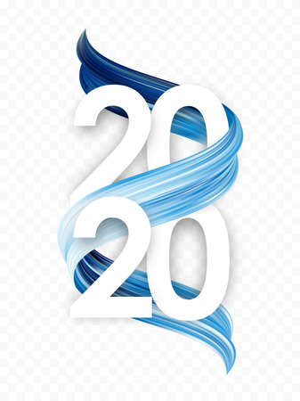 Vector illustration: Happy New Year. Number of 2020 with blue abstract paint stroke shape. Trendy design Ilustração