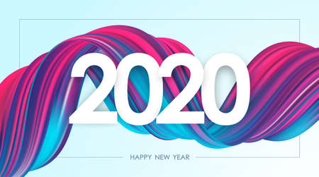 Vector illustration: Happy New Year 2020. Greeting card with neon colored twisted acrylic paint stroke shape. Trendy design Ilustração