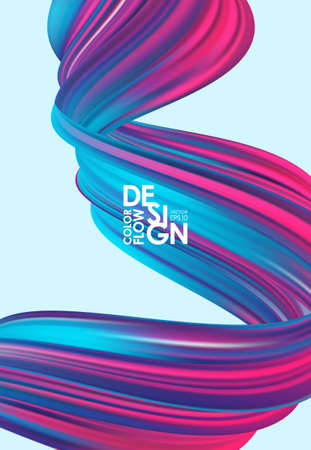 Vector illustration: Modern abstract poster background with 3d twisted neon colored flow liquid shape. Acrylic paint design