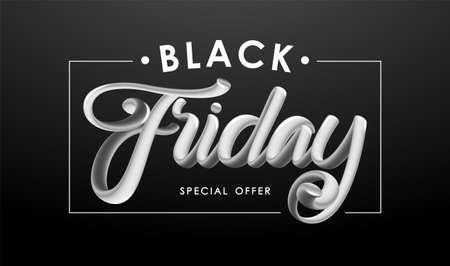 Vector illustration: 3d lettering composition of Black Friday in frame on dark background. Special offer.