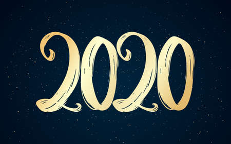 Vector illustration: Hand drawn brush golden lettering of number 2020. Happy New Year. Calligraphy