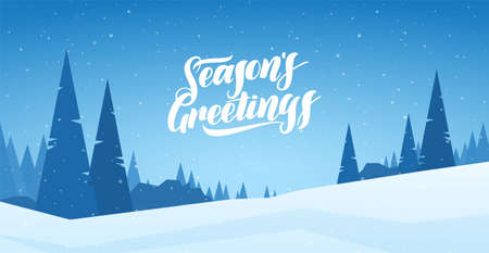 Vector illustration. Blue winter snowy landscape with hand lettering of Seasons Greetings and pines. Merry Christmas and Happy New Year.