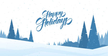 Vector illustration. Blue winter snowy landscape with hand lettering of Happy Holidays and pines. Merry Christmas and Happy New Year. 向量圖像