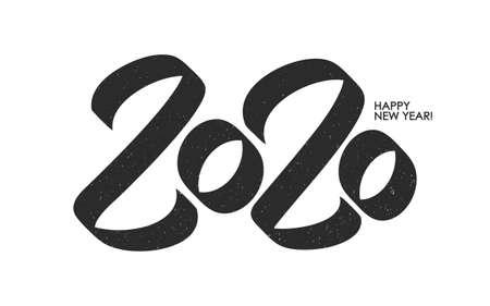 Vector illustration: Handwritten brush number of 2020. Happy New Year.