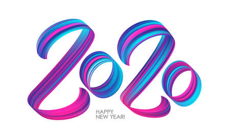 Vector illustration: Brushstroke paint lettering calligraphy of 2020 on white background. Happy New Year