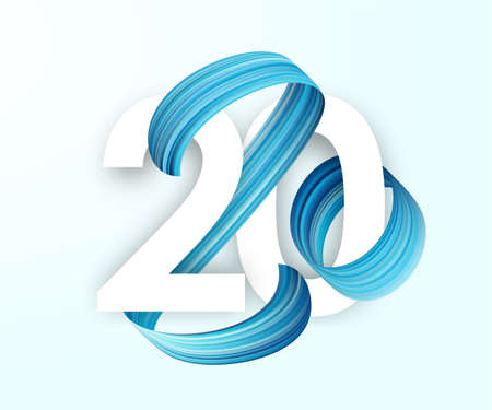 Vector illustration: Greeting card with blue Brushstroke paint. Lettering numbers of 2020. Happy New Year. Ilustração