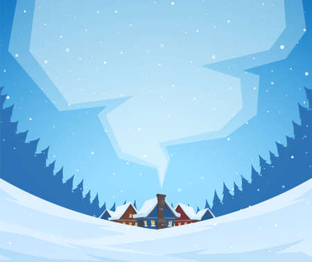 Vector illustration: Winter christmas landscape with cartoon village in pine forest and smoke from the chimney. Wide view. Ilustração