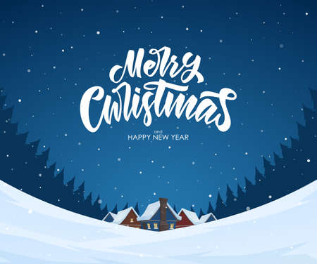 Vector illustration. Snowy landscape background with hand lettering of Merry Christmas, night village and pine forest.
