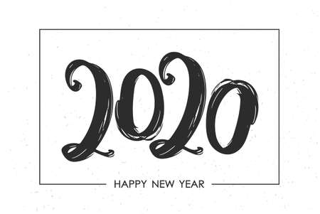 Vector illustration: Hand drawn brush stroke lettering of number 2020. Happy New Year. Chines calligraphy