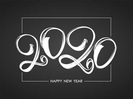 Vector illustration: Handwritten brush ink number of 2020 in frame on chalkboard background. Happy New Year. Ilustração