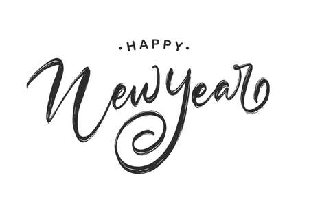 Vector illustration. Handwritten elegant modern brush lettering of Happy New Year isolated on white background.