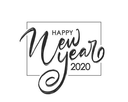 Vector illustration. Handwritten brush lettering composition of Happy New Year 2020