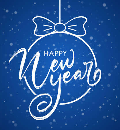 Vector illustration. Handwritten brush lettering composition of Happy New Year on snowfall background