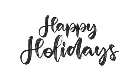 Vector illustration: Handwritten calligraphic brushlettering of Happy Holidays on white background