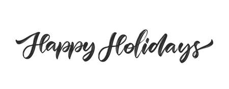 Vector illustration: Handwritten calligraphic modern brush type lettering of Happy Holidays on white background