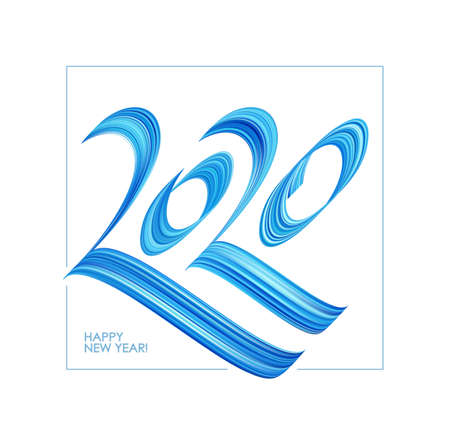Vector illustration: Hand drawn calligraphic blue paint lettering of 2020. Happy New Year Ilustração