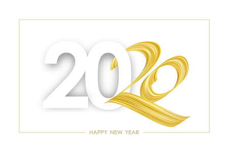 Vector illustration: Greeting card with golden Brushstroke paint lettering calligraphy of 2020 Happy New Year Ilustração