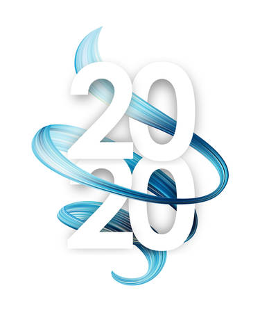 Happy New Year. Number of 2020 with light blue abstract twisted paint stroke shape. Trendy design