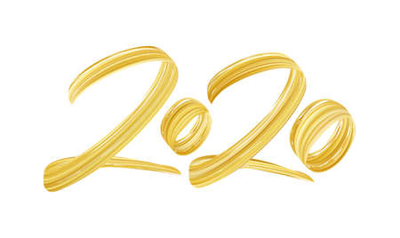 Hand drawn brush stroke golden paint number of 2020. Happy New Year