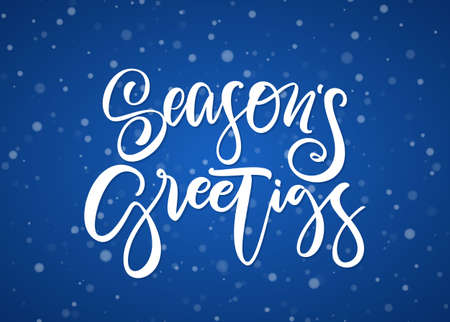 Handwritten modern brush type lettering of Seasons Greetings on blue snowflakes background.