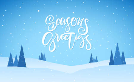 Flat winter snowy landscape with hand lettering of Seasons Greetings. Christmas background
