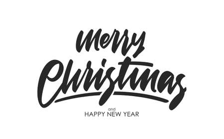 Handwritten calligraphic brush type lettering of Merry Christmas on white background.