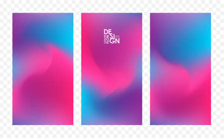 Set of three abstract colorful flow backgrounds. Modern screen design for app.