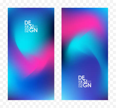 Set of two abstract colorful flow backgrounds. Modern screen design for app.