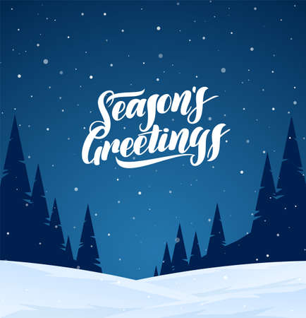 Night winter snowy landscape with hand lettering of Seasons Greetings and pines forest. Christmas background 向量圖像