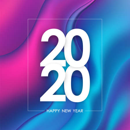 Happy New Year 2020. Greeting poster with holographic liquid background. Trendy design.