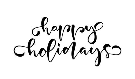 Handwritten modern brush type lettering of Happy Holidays on white background