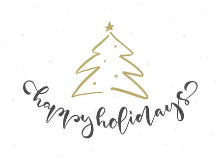 Handwritten modern brush type lettering of Happy Holidays and golden Christmas tree on white background 向量圖像