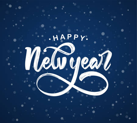 Hand drawn elegant modern brush lettering of Happy New Year on dark blue snowflakes background.