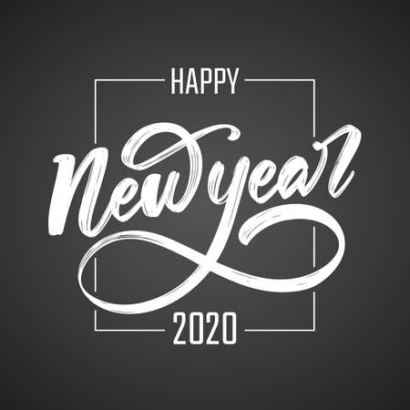 Handwritten calligraphic brush lettering composition of Happy New Year 2020 on blackboard background.