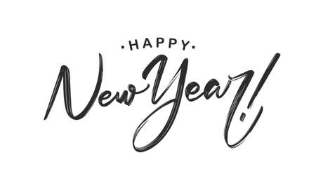 Handwritten calligraphic lettering of Happy New Year on white background. Ilustrace