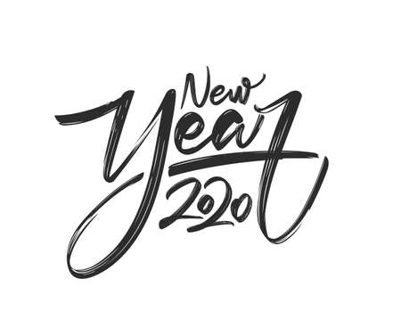 Handwritten calligraphic lettering of New Year 2020 on white background.