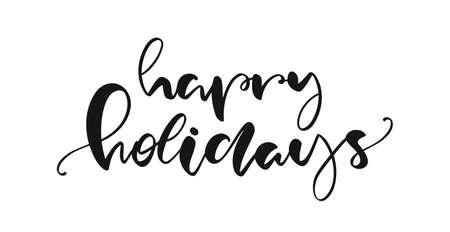Handwritten brush lettering of Happy Holidays on white background