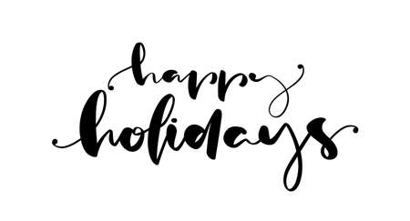 Handwritten brush ink lettering of Happy Holidays on white background