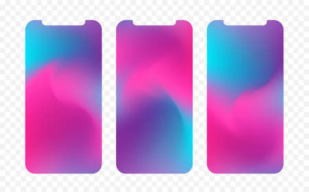 Vector illustration: Set of three abstract colorful screen wallpaper backgrounds. Modern design for app.