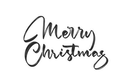 Handwritten calligraphic brush lettering of Merry Christmas on white background. 向量圖像