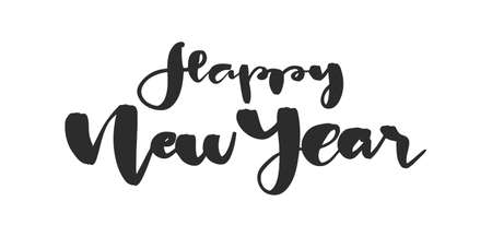 Handwritten brush lettering composition of Happy New Year on white background.